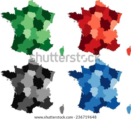 Highly Detailed France political map in four different color. Isolated, editable. - stock vector