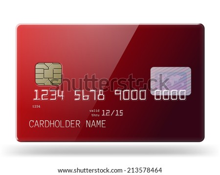 Highly detailed glossy red credit card  - stock vector