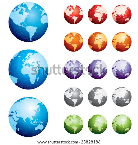 Highly detailed hand drawn globes - stock vector