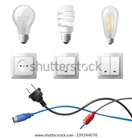 Highly detailed home electricity devices set - stock vector