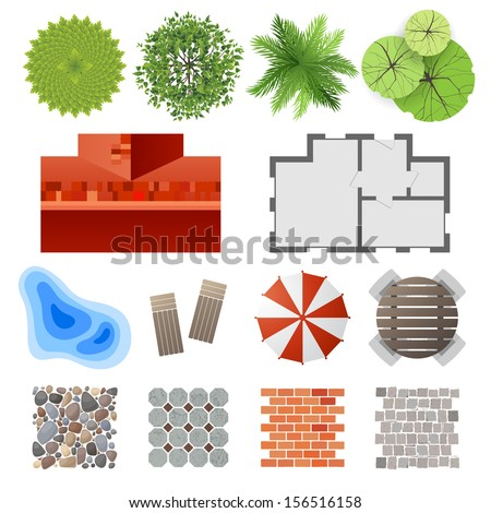 Highly detailed landscape design elements - easy to make your own plan!  - stock vector