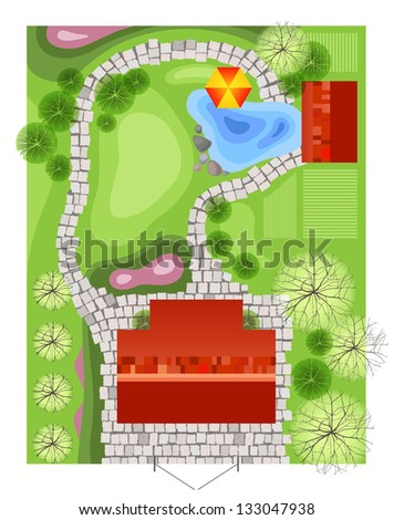 Highly detailed landscape design plan. EPS 10 - stock vector