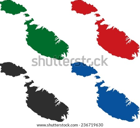 Highly Detailed Malta political map in four different color. Isolated, editable. - stock vector