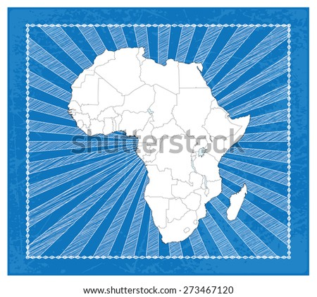 Highly Detailed Map of Africa with Impact-full Background - stock vector