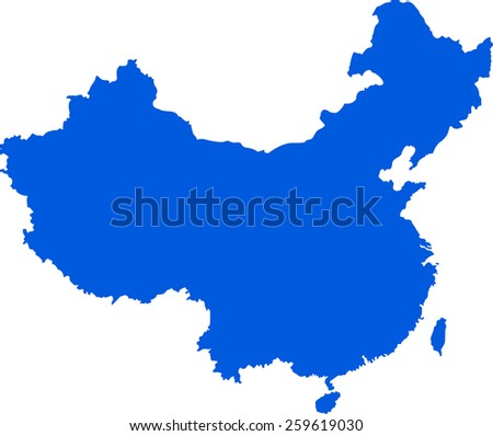 Highly detailed map of China - stock vector