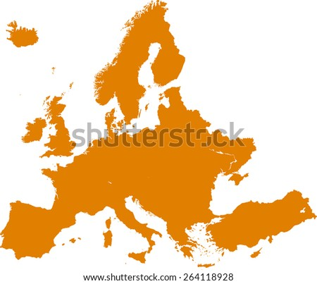 Highly detailed map of europe - stock vector
