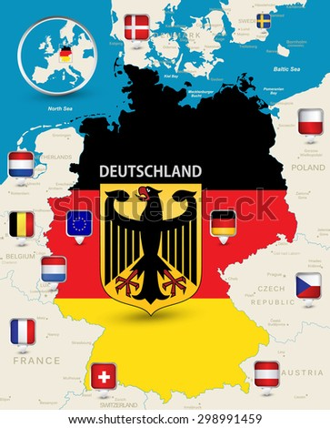 Highly Detailed Map Germany Coloured By Stock Vector (Royalty Free ...