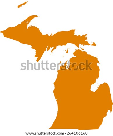 Highly detailed map of Michigan - stock vector