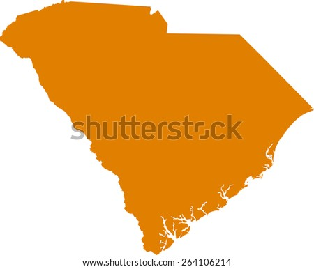 Highly detailed map of South Carolina - stock vector