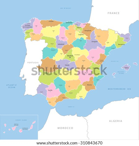 Highly detailed map of Spanish county, vector.