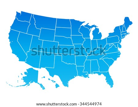 Highly detailed map of the United States of America. USA map, blue color. - stock vector