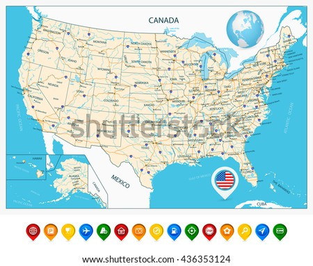 South America Detailed Physical Map Global Stock Vector - Us map with rivers and states