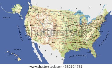 Highly Detailed Map United States Cities Stock Vector - The united states hawaii alaska map