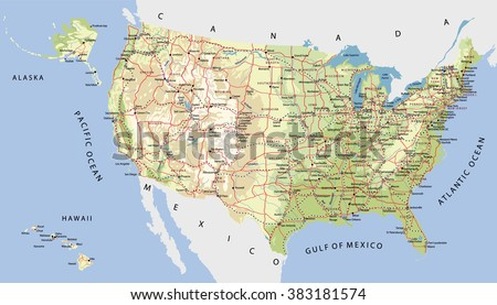 United States Road Map Stock Images RoyaltyFree Images Vectors - Us map with cities and rivers