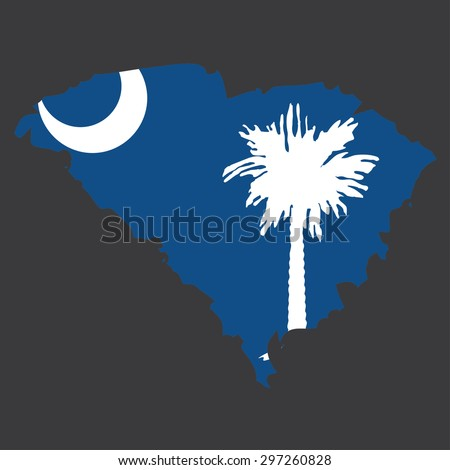 Highly detailed map with flag inside of the state of South Carolina - stock vector