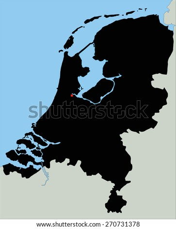 Highly Detailed Netherlands Silhouette map. - stock vector