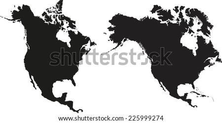 Highly detailed North America map. Two different projection. - stock vector