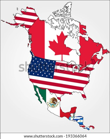Highly Detailed North America Map With Country Flags. - stock vector