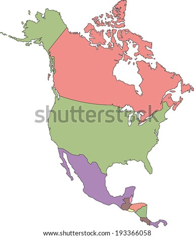 Highly Detailed North America Political Map. - stock vector