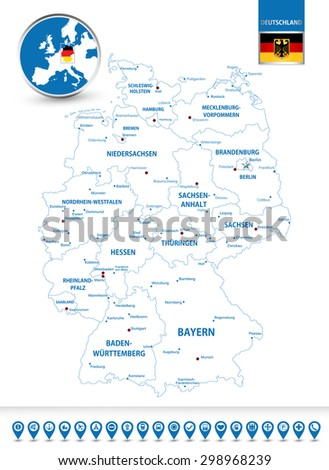 highly detailed outline map of germany with its federal states contours cities and navigation icons