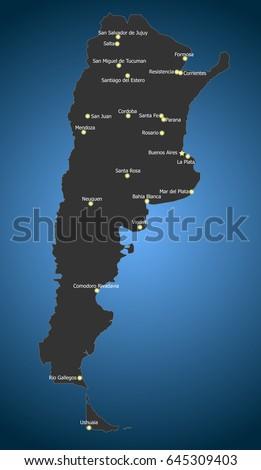 Argentina City Stock Vectors Images Vector Art Shutterstock - Argentina map of cities