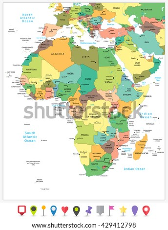 Highly detailed political map of Africa isolated on white and flat map pointers with separated layers. - stock vector