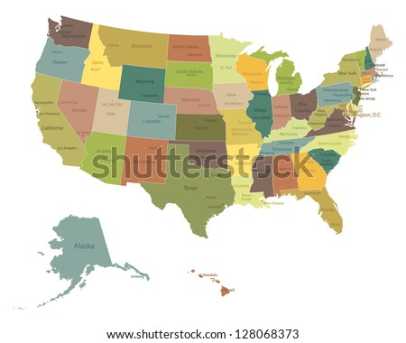 United states map stock images royalty free images vectors highly detailed political usa map with names of states and cities sciox Images