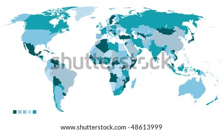 highly detailed political world map in 5 colors - stock vector