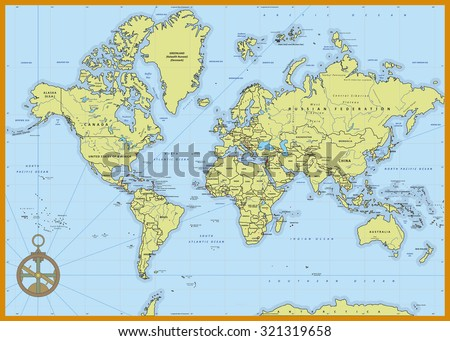 Highly detailed political world map with capitals, rivers,  separated layers. Vector illustration. - stock vector