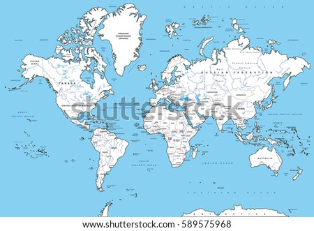 Highly detailed political world map capitals stock vector highly detailed political world map with capitals rivers separated layers vector illustration gumiabroncs Choice Image