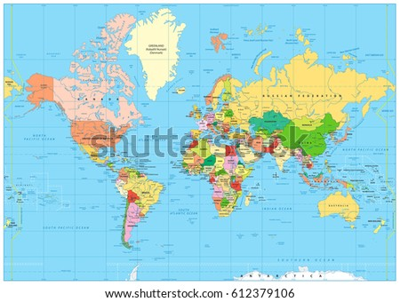 Highly detailed political world map labeling stock vector 2018 highly detailed political world map with labeling vector illustration gumiabroncs Image collections