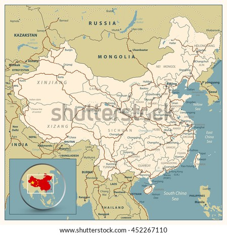 Highly Detailed Road Map Of China With Roads Railroads And Water Objects All Elements