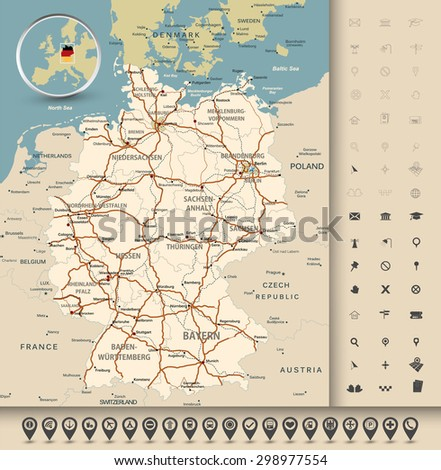 Highly detailed road map of Germany with GPS pin pointers set. Vector illustration contains: land outlines, states and land names,town names,roads(highways) and railroads. - stock vector