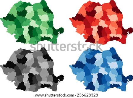 Highly Detailed Romania political map in four different color. Isolated, editable. - stock vector