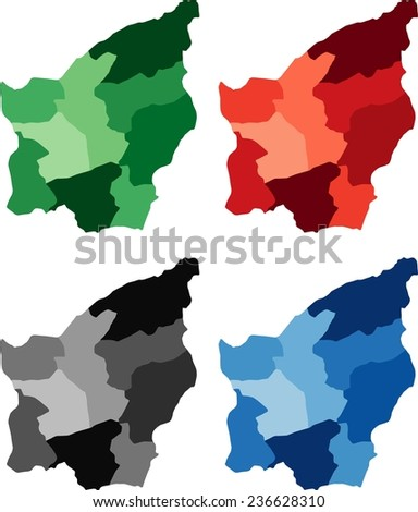 Highly Detailed San Marino political map in four different color. Isolated, editable. - stock vector