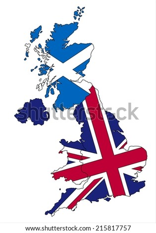 Highly detailed Scotland and United kingdom map and flag.