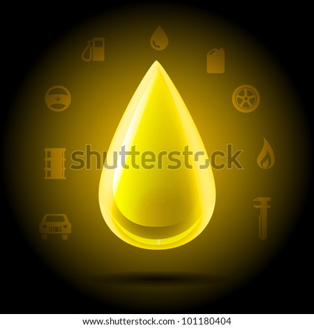 Highly detailed shining yellow golden drop of oil hanging on a dark background automotive symbols - stock vector