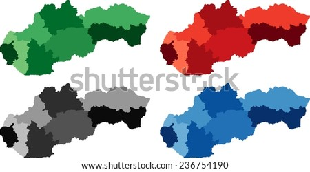 Highly Detailed Slovakia political map in four different color. Isolated, editable. - stock vector