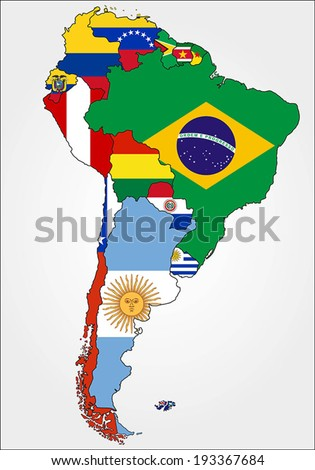 Highly Detailed South America Map With Country Flags. - stock vector