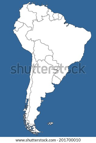 Highly Detailed South America Silhouette with borders, vector illustration. White&Blue. - stock vector