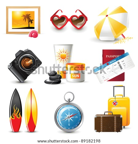highly detailed travelling icons set - stock vector