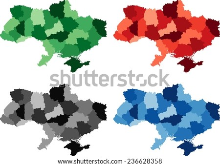 Highly Detailed Ukraine political map in four different color. Isolated, editable. - stock vector
