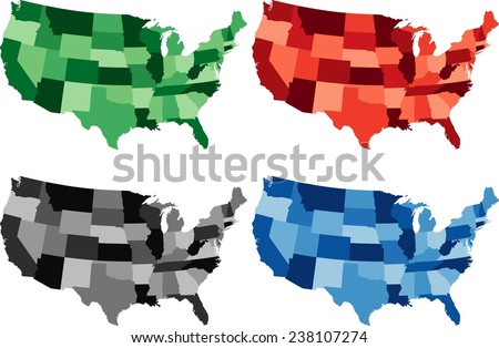 Highly Detailed United States of America political map in four different color. Isolated, editable. - stock vector