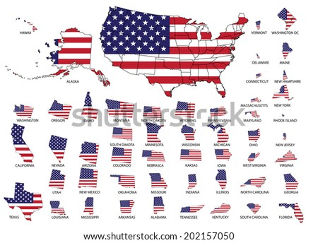 Highly detailed USA map with USA flag graphic, isolated statue's border. - stock vector