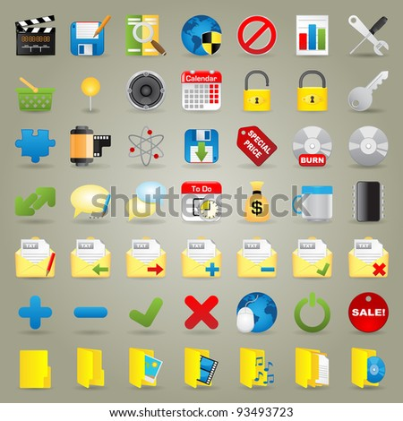 Highly Detailed Vector Icons For Web Applications - stock vector