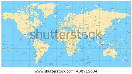 Colored World Map Borders Countries Cities Stock Vector - World map with countries