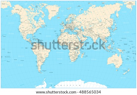 Blue color world map highly detailed vectores en stock 488565028 highly detailed world map vector illustration highly detailed world map countries cities gumiabroncs Image collections