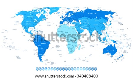 Highly Detailed World Map with Continent in Different Blue Colors and Flat Design Square Navigation Icons. - stock vector