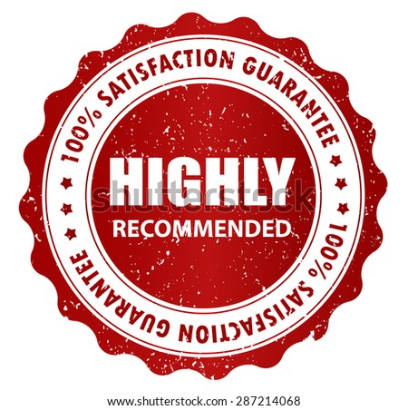 Highly Recommended stamp, Sticker, Label or Badge Isolated on White Background