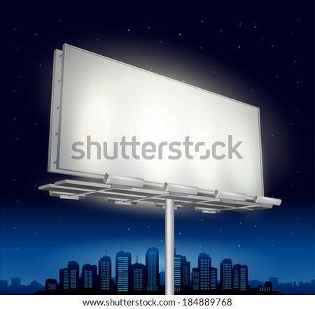 highway ad billboard roadside with cityscape in background - stock vector